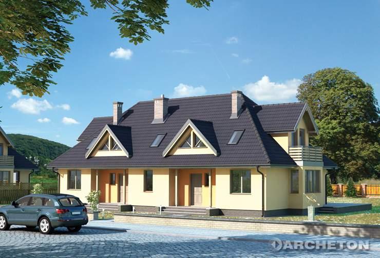 Projekt domu Paula - dwurodzinny dom w szkielecie drewnianym prefabrykowanym
