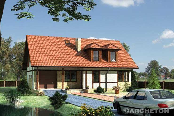 Projekt domu Perkoz - dom w rustykalnym stylu, wzbogacony drewnianymi listwami