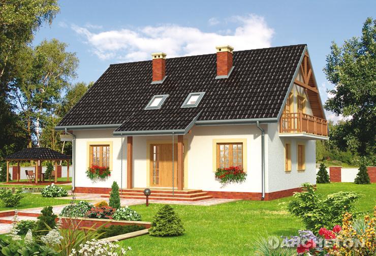 Projekt domu Petunia - dom z dwoma daszkami pulpitowymi nad wejściem i wyjściem na taras
