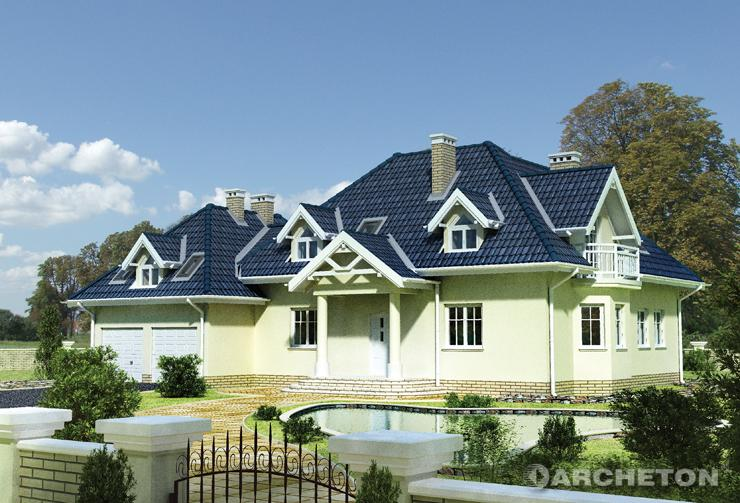 Projekt domu Piast - okazała willa z garażem dwustanowiskowym