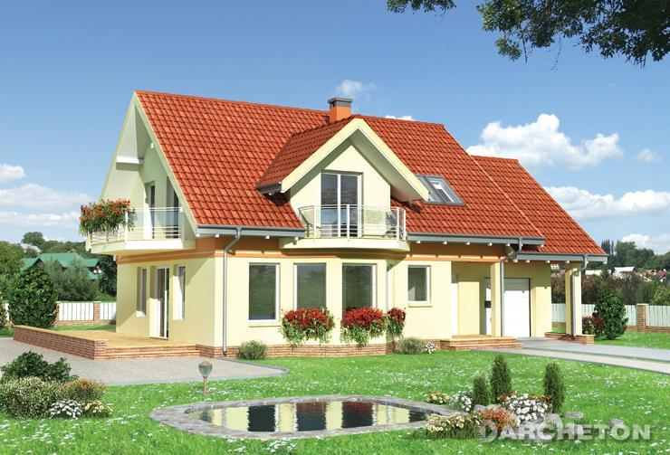Projekt domu Pigwa - dom z wysuniętą częścią jadalni i z tarasem na elewacji bocznej