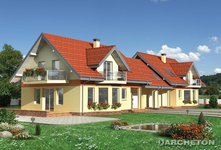 Projekt domu Pigwa Duo - dom do zabudowy bliźniaczej z użytkowym poddaszem, z garażem