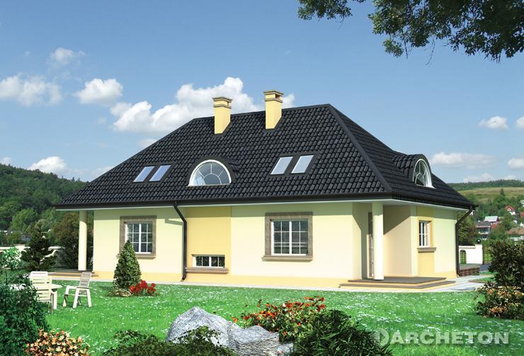 Projekt domu Platan - sylwetka domu nawiązuje do stylu dworkowego
