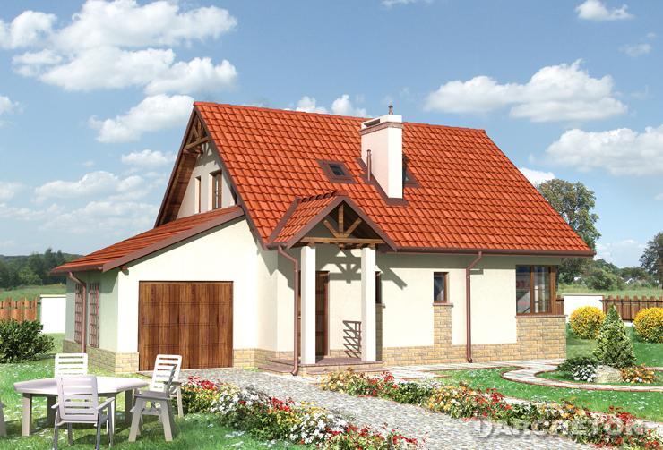 Projekt domu Pliszka - dom z garażem dostawionym do bryły budynku, z dachem pulpitowym