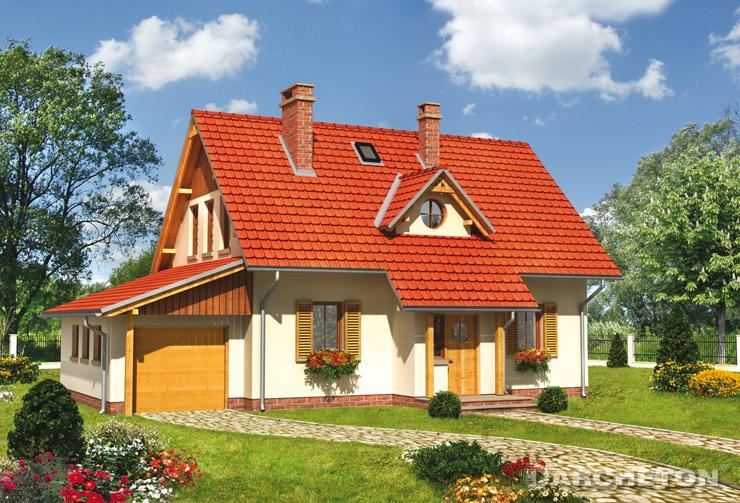 Projekt domu Płomyk - dom z wysunięta klatką schodową od strony ogrodu
