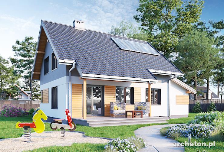Projekt domu Pod Lipą - dom z garażem pokrytym dachem pulpitowym
