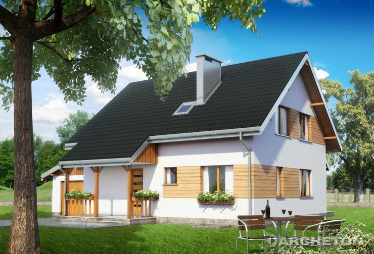 Projekt domu Pod Lipą - dom w kształcie prostokąta z dostawionym garażem