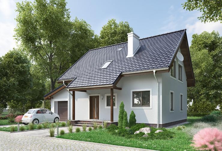 Projekt domu Pod Lipą Mak - dom z wysuniętymi zadaszeniami tarasu i wejścia