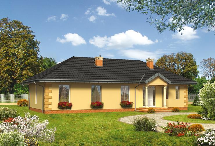 Projekt domu Poemat - prosty dom na planie prostokąta z dużym, otwartym pokojem dziennym