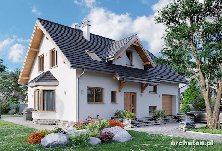 Projekt domu Pola - dom średniej wielkości z podcieniem i lukarną nad wejściem