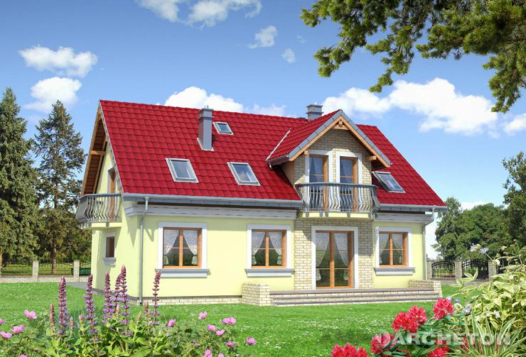 Projekt domu Pola Lux - dom z podcieniem wejścia podpartym na dwóch kolumnach