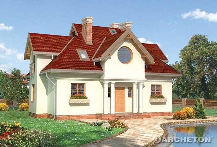 Projekt domu Poraj - dom z portykiem opartym na zdwojonych słupach