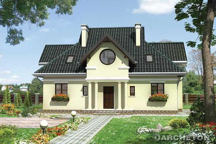 Projekt domu Poraj-2 - dom z portykiem tworzącym zadaszenie wejścia