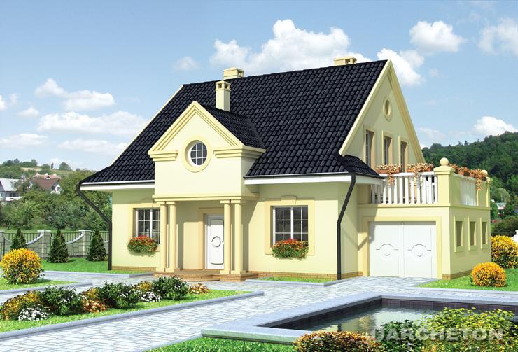 Projekt domu Porfirion - dom z lukarną tworzącą podcień wejściową