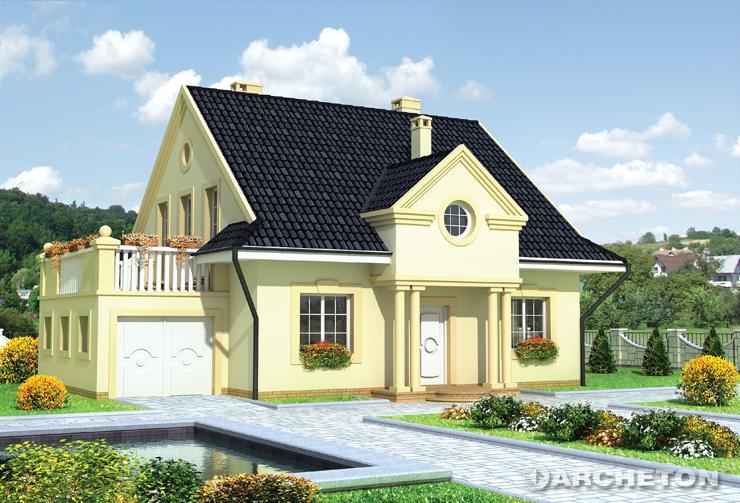 Projekt domu Porfirion - dom z tarasem nad dostawionym garażem