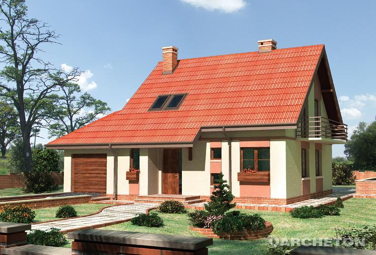 Projekt domu Poziomka - dom z podcieniami nad wejściem głównym oraz nad tarasem