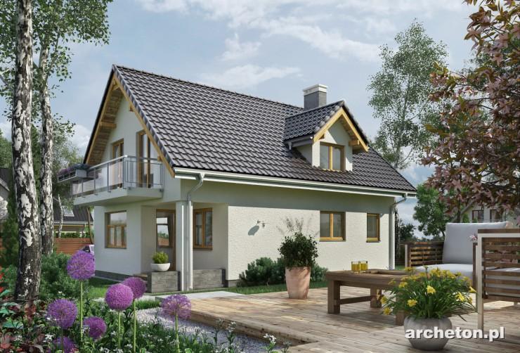 Projekt domu Prymulka - dom wzbogacony balkonem i dwoma lukarnami