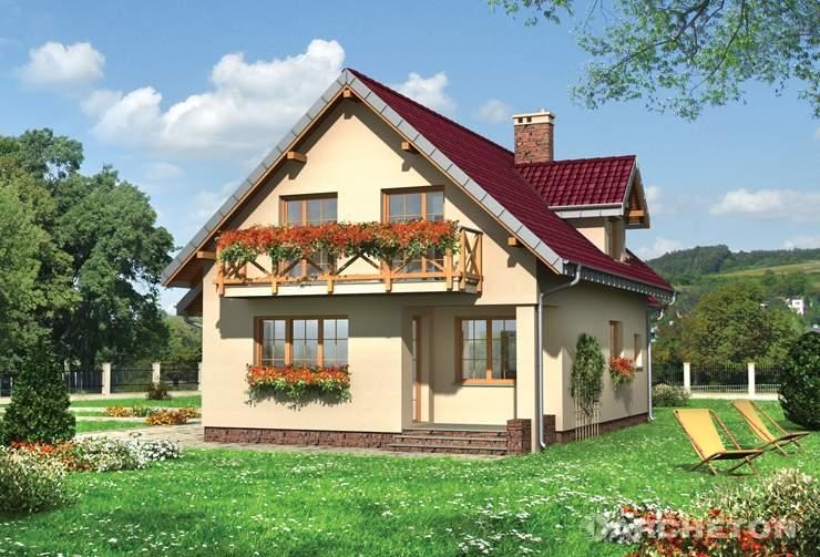 Projekt domu Prymulka Bona - niewielki dom z użytkowym poddaszem z dołączonym garażem