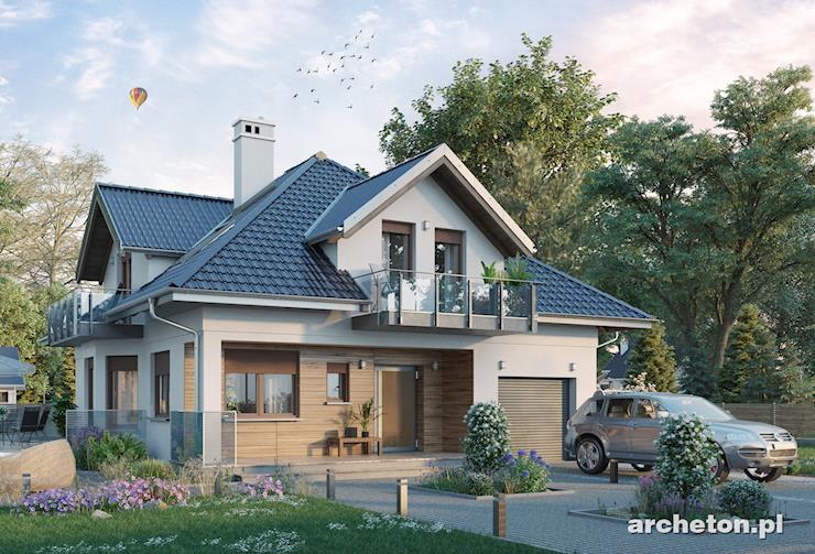 Projekt domu Prymus - dom z lukarną poddasza wieńczącą wielokątny ryzalit z jadalnią