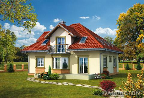Projekt domu Prymus Lux - dom z użytkowym poddaszem, z balkonem nad wejściem głównym