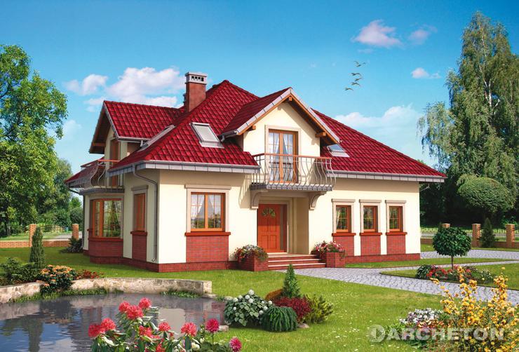 Projekt domu Prymus Lux G2 - dom z użytkowym poddaszem, z wysuniętą częścią pokoju dziennego