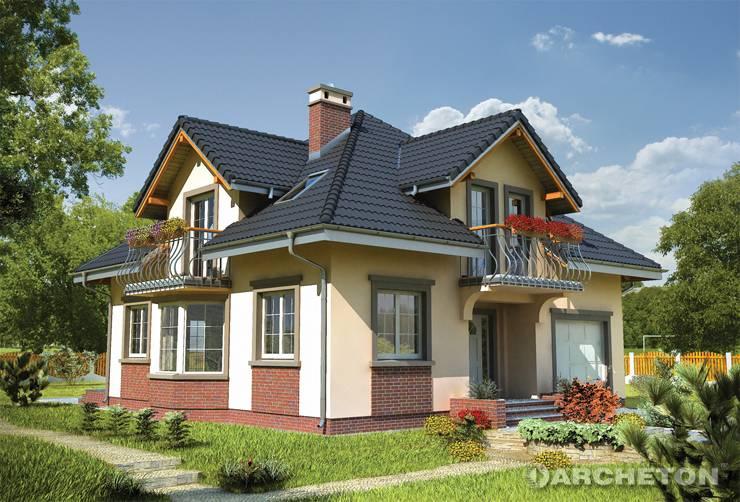 Projekt domu Prymus Mini - domek z użytkowym poddaszem, z dwiema lukarnami
