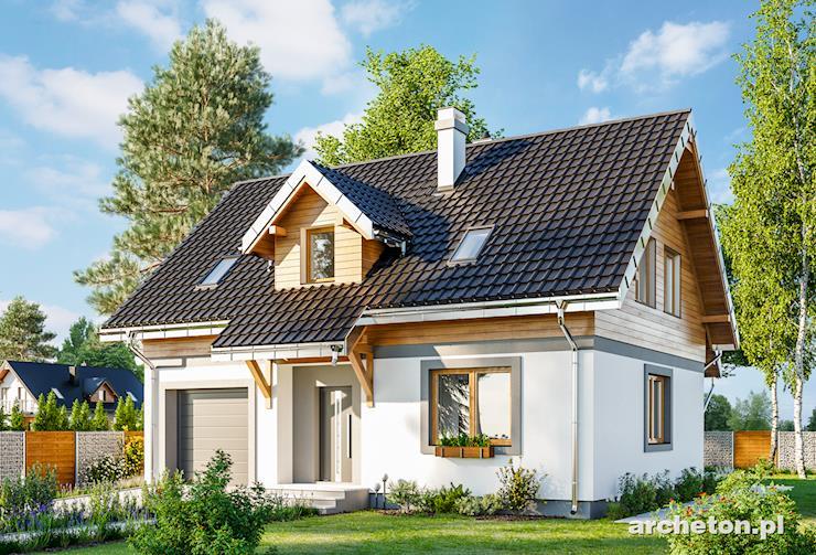 Projekt domu Ptyś - dom z wejściem zaakcentowanym uskokiem ściany i lukarną dachową