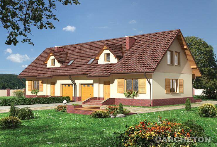 Projekt domu Ptyś Duo - dom z elewacją z tynku szlachetnego do zabudowy bliźniaczej