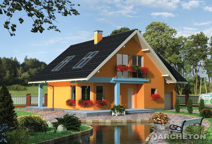 Projekt domu Radek - dom z wysuniętą kuchnią i ustawnym salonem