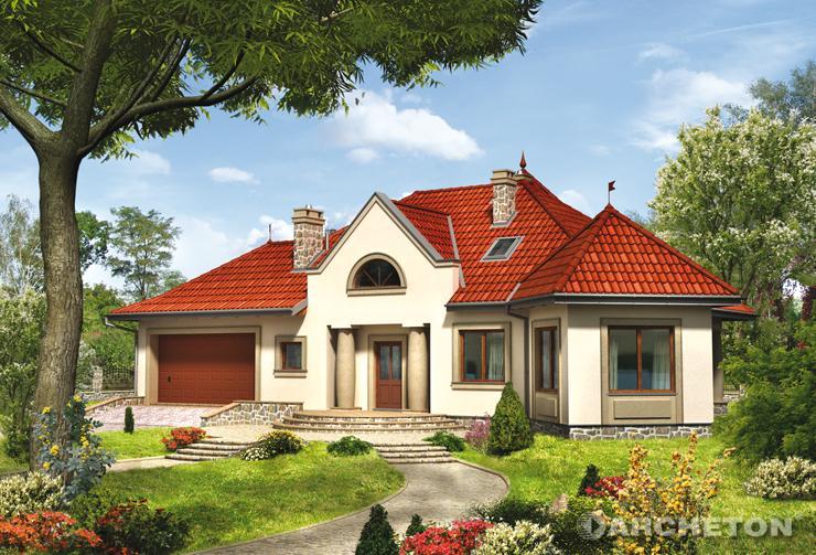 Projekt domu Rawa - dom z wykuszem wspartym na filarach od strony ogrodu