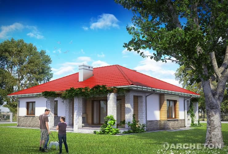 Projekt domu Regina - dom parterowy z zadaszeniem nad wejściem i od strony ogrodu