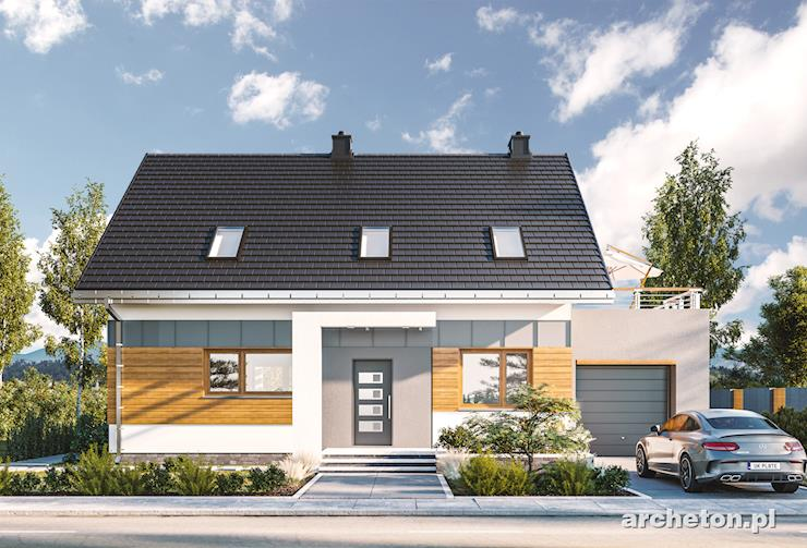 Projekt domu Renata - nowoczesny i funkcjonalny domek o prostej bryle z tarasem nad garażem