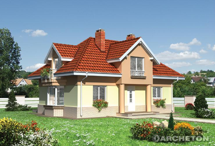 Projekt domu Roksana - dom z gankiem przykrytym dachem dwuspadowym