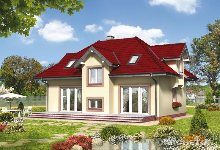 Projekt domu Roksana Rex - dom z lukarną z wyjściem na balkon