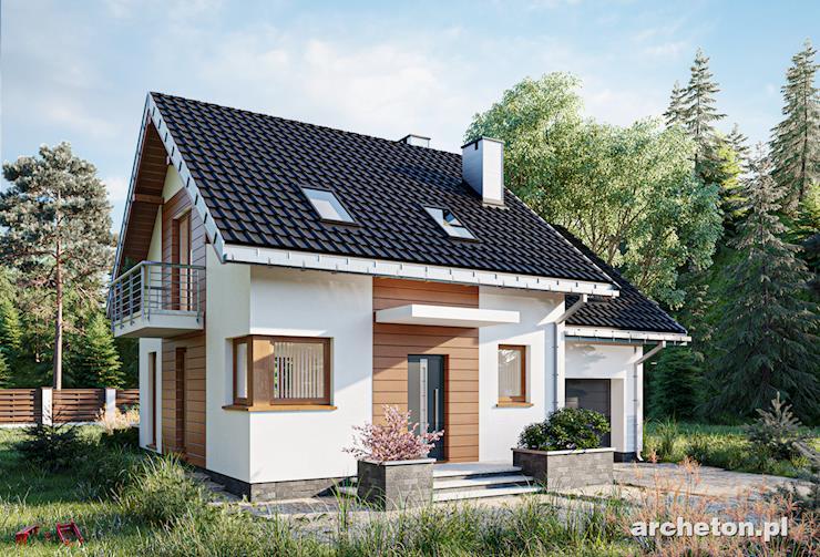 Projekt domu Romek - ładny dom do 100 m2, z użytkowym poddaszem i z garażem