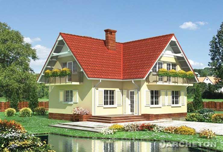 Projekt domu Rosomak - dom z tarasem nad częścią garażu