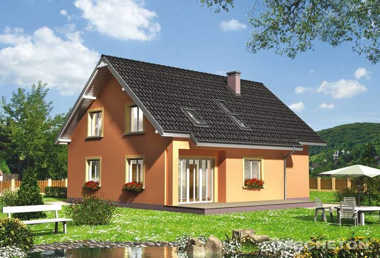 Projekt domu Rudzik - dom z kotłownią dostępną z sieni