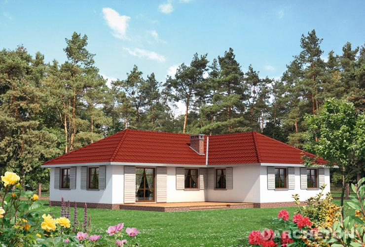 Projekt domu Rumianek - dom parterowy z dużym pokojem dziennym