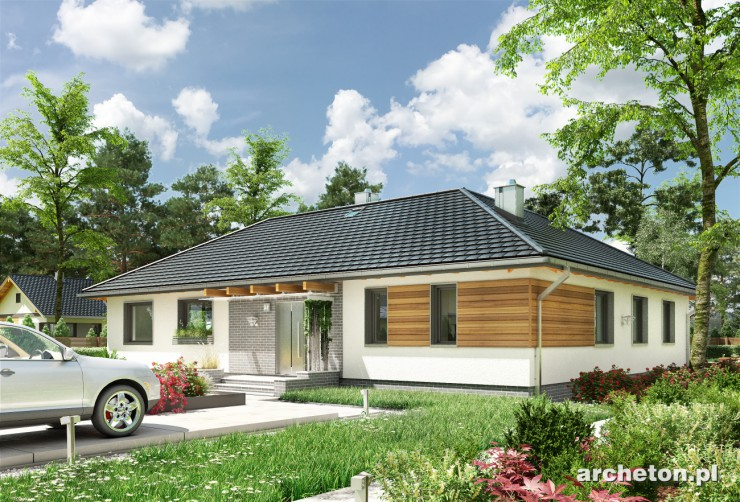Projekt domu Rumianek - dom parterowy na planie litery L, z nowoczesnymi detalami i przestronnym wnętrzem