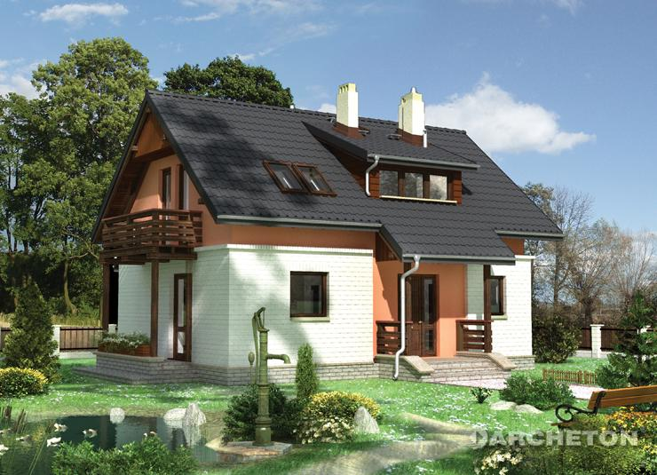 Projekt domu Ruta - domek z otwarta kuchnią i gabinetem na parterze