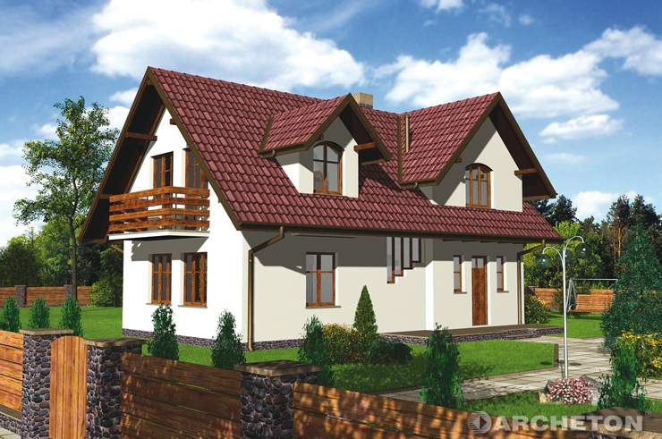 Projekt domu Sadyba - mały malowniczy domek z kotłownią w piwnicy