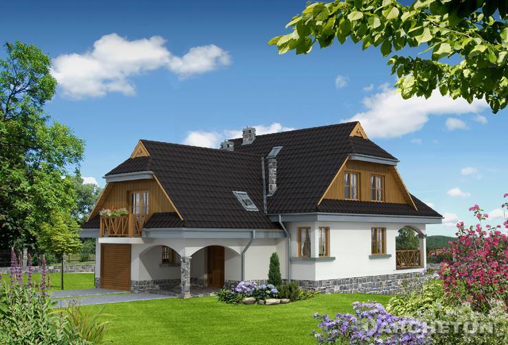 Projekt domu Saga Alter - dom z charakterystyczną logią na poziomie parteru