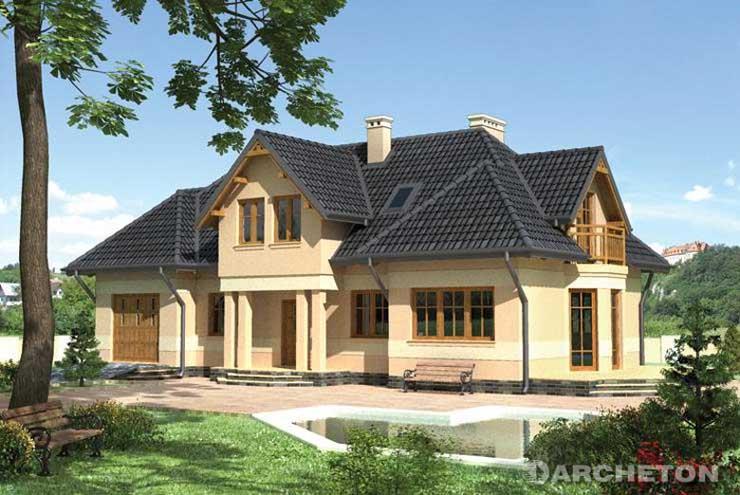 Projekt domu Salamandra - ciekawy dom z trapezowymi balkonami