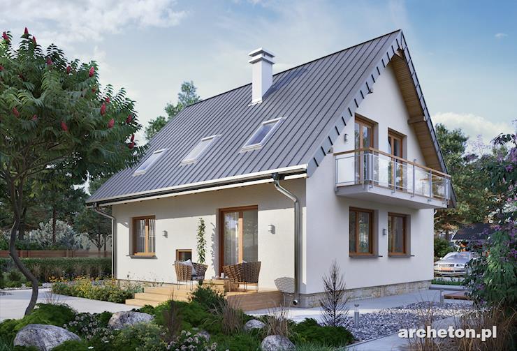Projekt domu Sambor Mini - mały domek z dwiema łazienkami i pralnią na poddaszu
