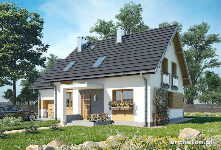 Projekt domu Sambor Neo - dom z użytkowym poddaszem, z dostawionym do bryły garażem jednostanowiskowym