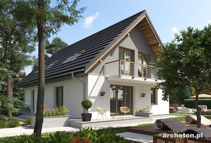 Projekt domu Sambor Polo - malowniczy domek z drewnianymi akcentami elewacji