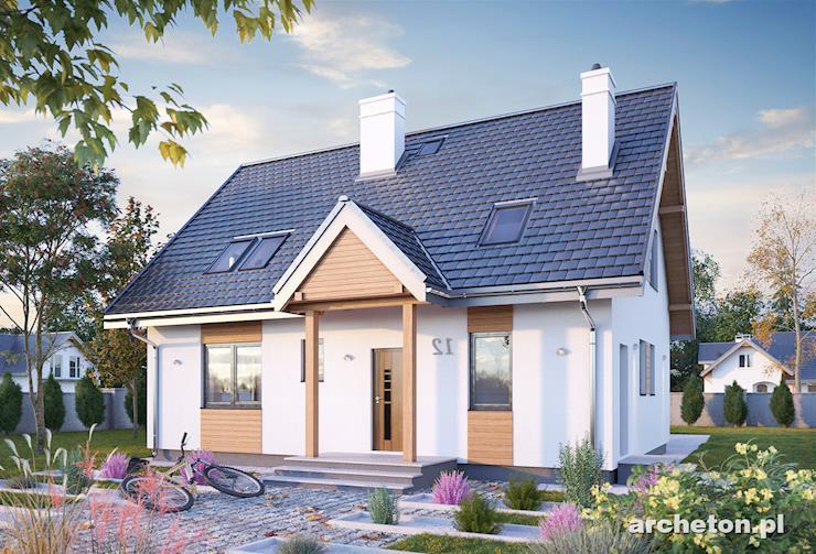Projekt domu Sambor Rex - nieduży domek z podcienią wejścia i balkonem na poddaszu