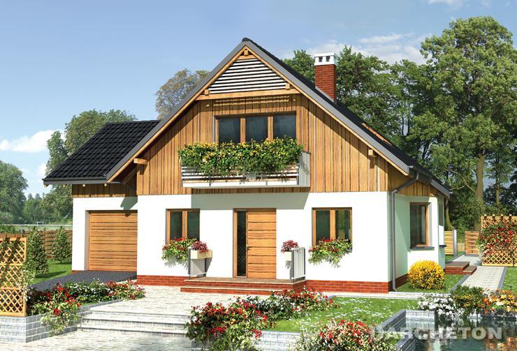 Projekt domu Sasanka - dom ze stryszkiem nad garażem