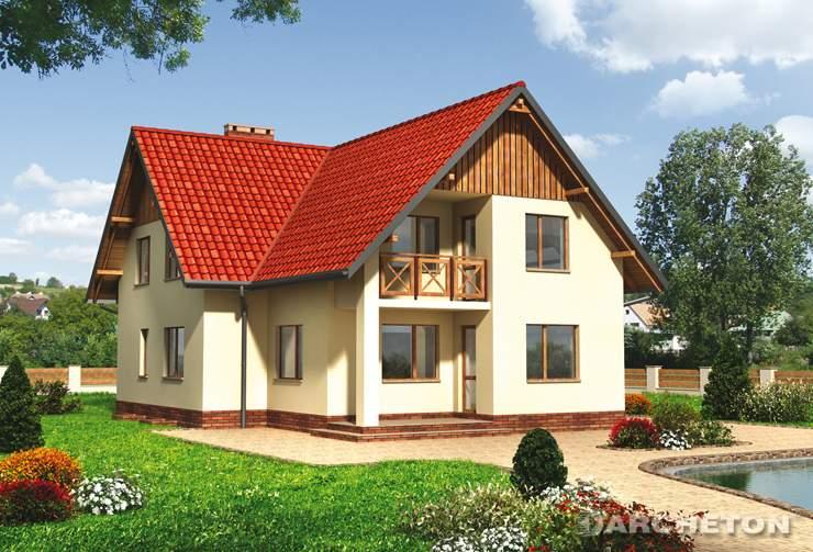 Projekt domu Sezam - dom podcieniem wejścia i tarasu oraz loggią