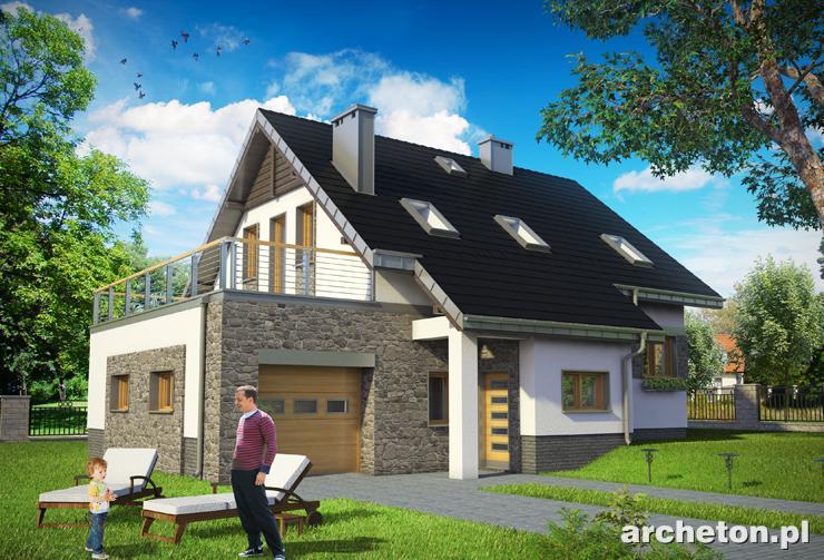 Projekt domu Skarabeusz Prima - dom z tarasem nad garażem i z przeszklonym salonem od strony ogrodu